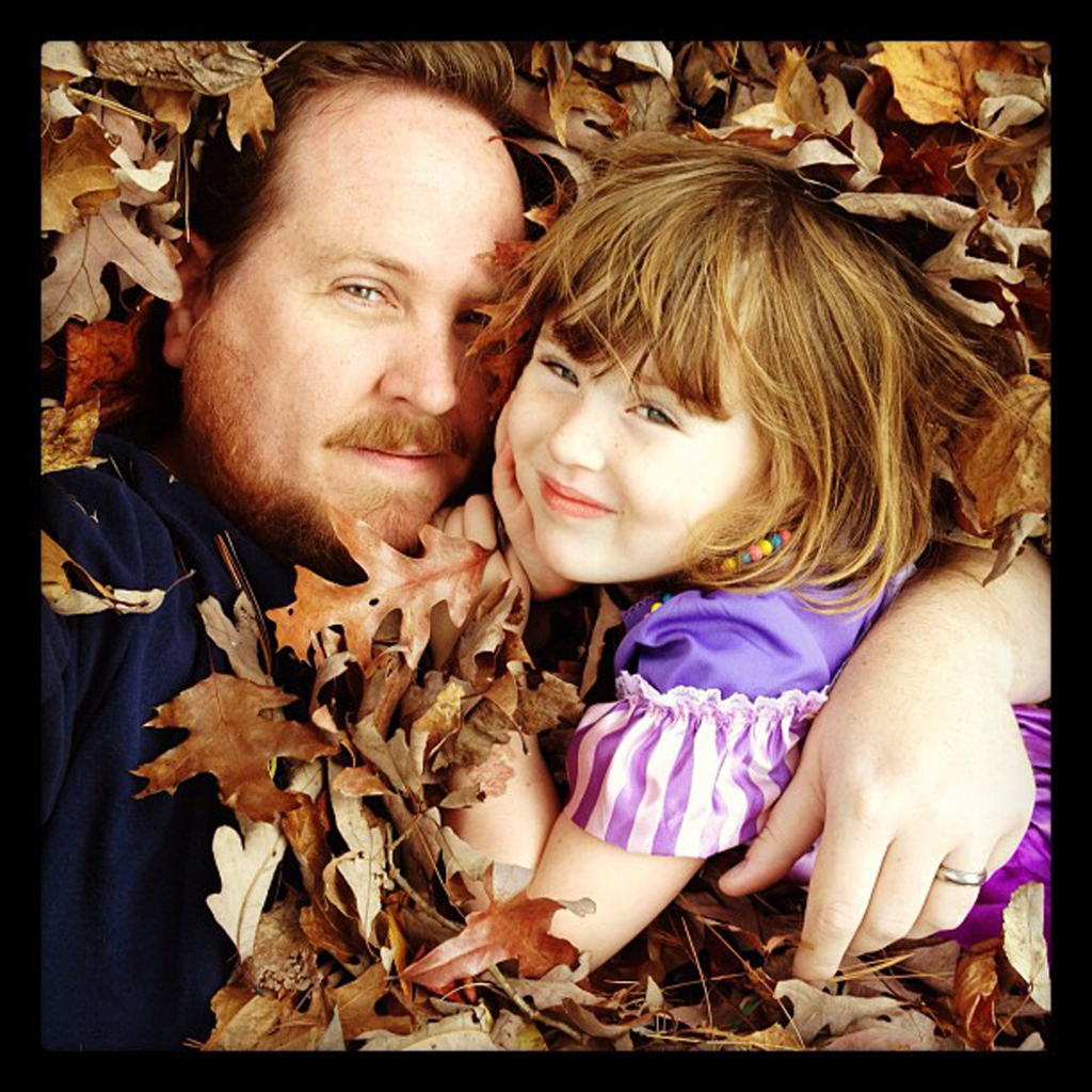 Eliza and me in leaves