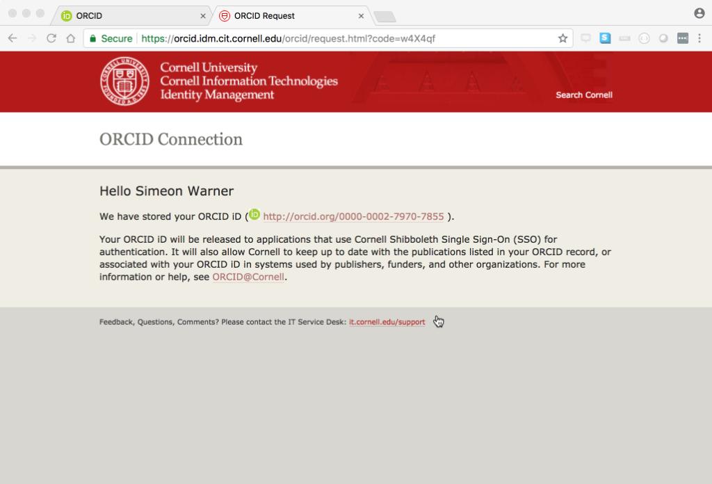 ORCID at Cornell University – LYRASIS NOW