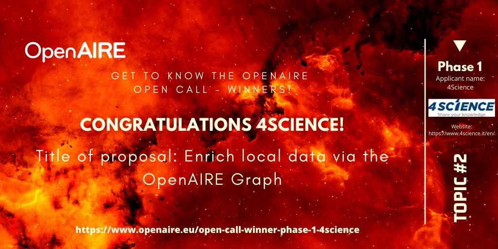 4Science Receives OpenAIRE Open Innovation Award to Enrich Local Data via the OpenAIRE Graph