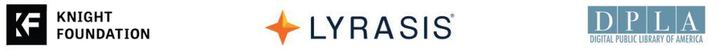 Logos for Knight Foundation, LYRASIS, and DPLA